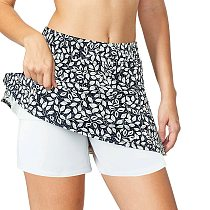 Workout Short Floal Print Gym Short Dance skirt Sport Tennis Skirt Yoga Fitness Breathable Inside with Pockets Pinhole Shorts