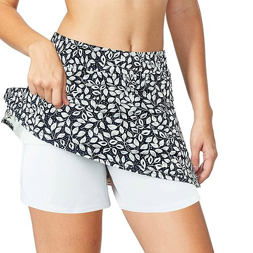 Workout Short Floal Print Gym Short Dance skirt Sport Tennis Skirt Yoga Fitness Breathable Inside with Pockets Pinhole Shorts