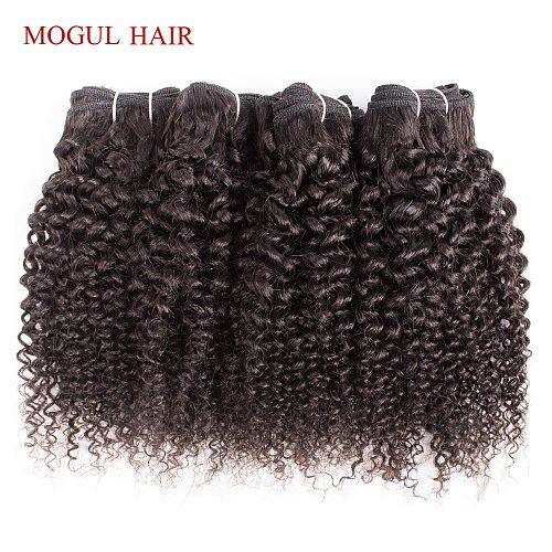 MOGUL HAIR 4/6 Bundles 50g/pc Brazilian Kinky Curly Natural Color Can be Dyed Remy Human Hair 10 12 inch Short Bob Style