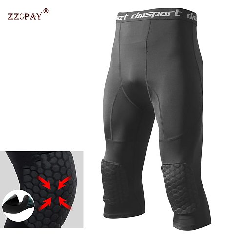 Men's Safety Anti-Collision Pants Basketball Training 3/4 Tights Leggings With Knee Pads Protector Sports Compression Trousers