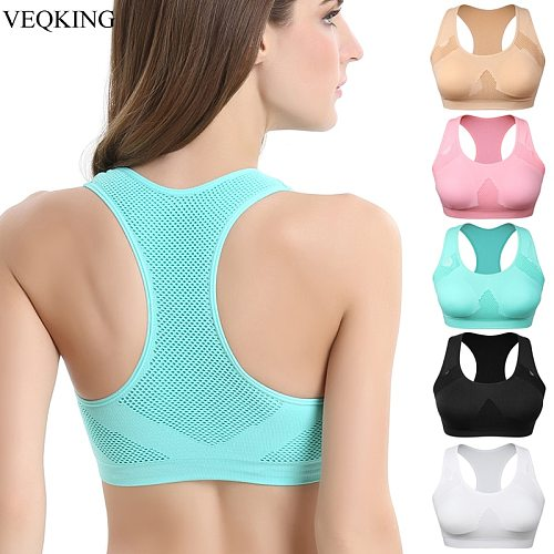 VEQKING Women Breathable Sports Bra,Absorb Sweat Shockproof Padded Sports Bra Top,Athletic Gym Running Fitness Yoga Sports Tops