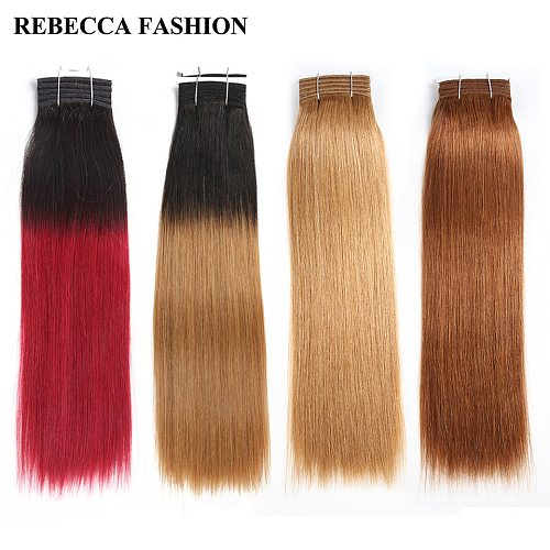Rebecca Double Drawn Hair 113g Brazilian Yaki Straight Human Hair Weave Bundles Ombre Red Brown Black Colors 1PC Remy Hair
