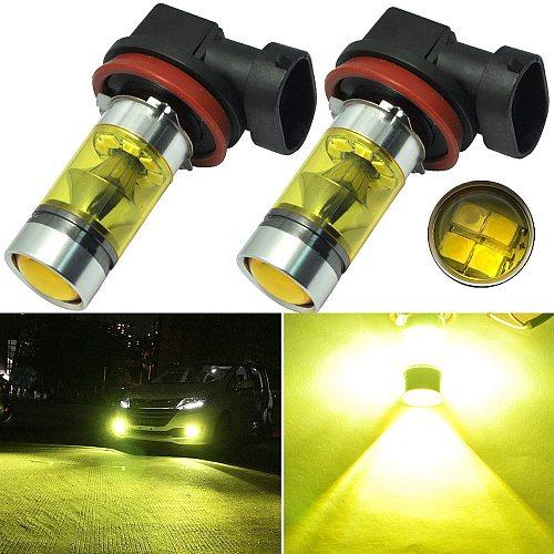 2 pcs Yellow Car DRL fog lights headlights 4300K 1000LM H8/H11 Connect DRL Lamp Bulbs Car Accessories