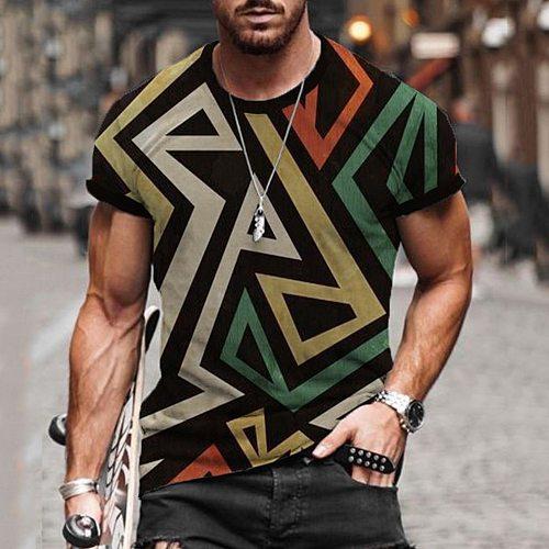 2021 Summer Men T-Shirt Short-Sleeve Retro Printed O-Neck Tops Male Clothing Casual Hip-Hop Shirt Fashion Leisure Streetwear