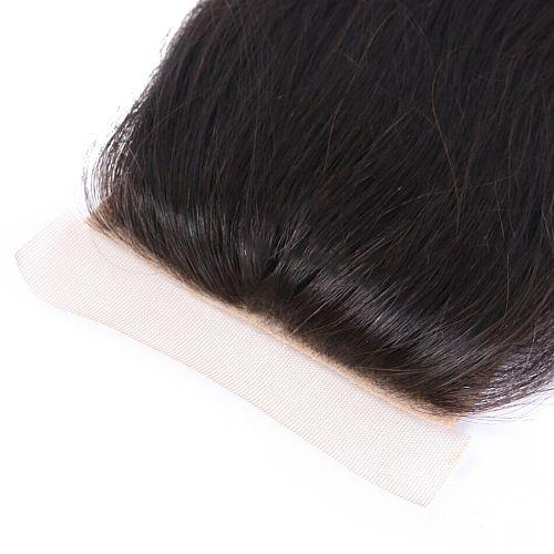 Straight Human Hair Lace Closure 4X4 PU Silk Base Fake Scalp Closure 100% Remy Brazilian Human Hair Free Part PrePlucked 20 Inch