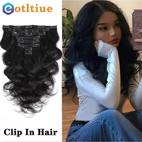 120G Volume Series Wavy Malaysia Machine Made Remy Body Wave 100% Clip In Human Hair Extensions Full Head 8PCs 8'' to 24'' inch