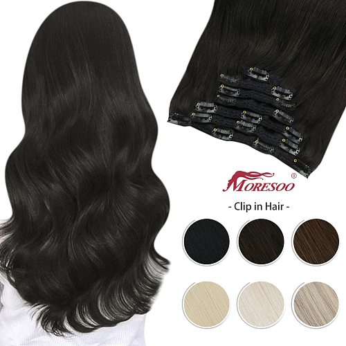 Moresoo Human Hair Clip on Extension 7Pcs Machine Remy Hair Extensions Pure Color Full Head Natural Hair Hairpiece for Women