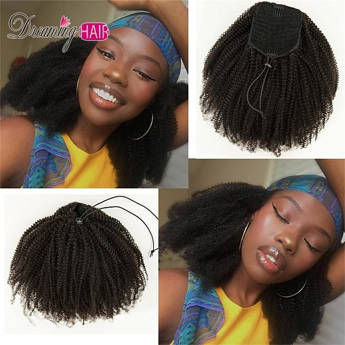 Afro Clip in Human Hair Drawstring Ponytail Extension Kinky Curly Ponytail Human Hair Brazilian Clip In Ponytail For Black Women