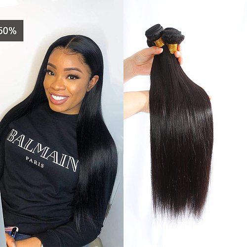 M&H 9A Brazilian Straight Hair Bundles With Closure Remy Bone Straight Human Hair