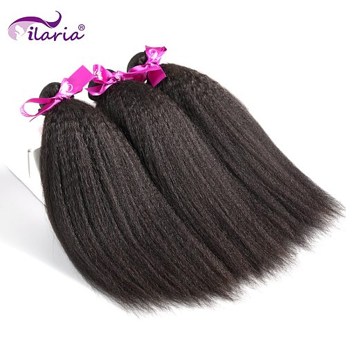 ILARIA Kinky Straight Peruvian Hair Bundles Coarse Yaki 100% Virgin Human Hair Weaves Bundles Natural Color No Shedding