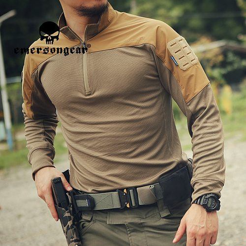 EMERSONGEAR Blue Label Tactical UMP Frogmen T-Shirt Hunting Airsoft Hiking Camouflage Splicing Combat Shirts Long Sleeve