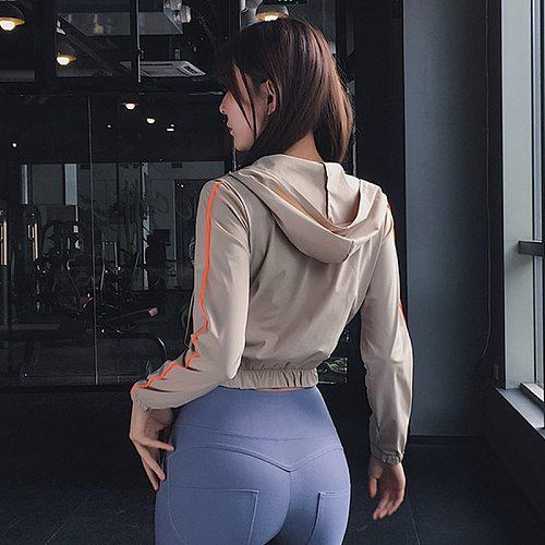 Hooded Sports Yoga Top Women Crop Top Workout Jacket Zipper Running Jacket Fitness Tracksuits Training Long Sleeve Sweatshirt