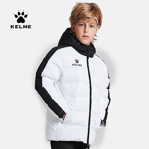 KELME Kid Winter Jacket Sports Hooded Jacket Boys Girls Windproof Warm Outdoor Cotton Coat 3883405