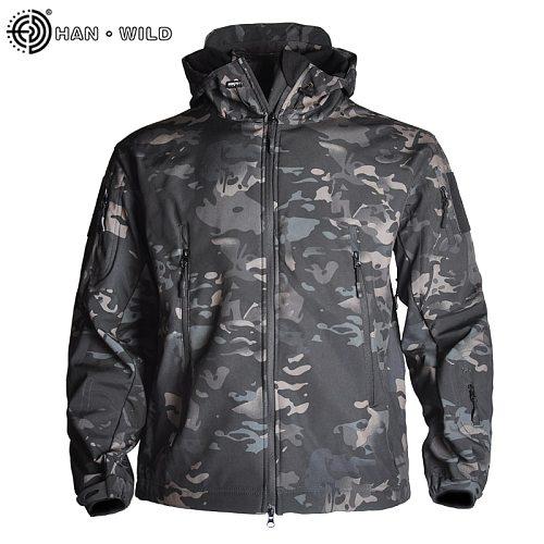 HAN WILD Men's Military Camouflage Fleece Jacket Army Tactical Jacket Fleece Clothing Multicam Male Camouflage Windbreakers