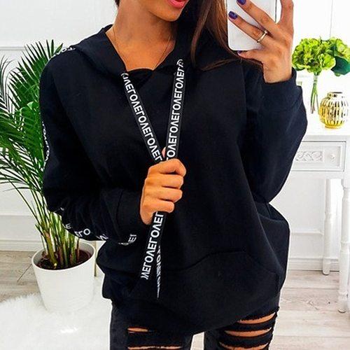 Women Hoodies Sweatshirt Plus Size Long Sleeve Solid Stripe Sweatshirt Hooded Women Pullovers Winter Jumpers Tops Sweatshirt