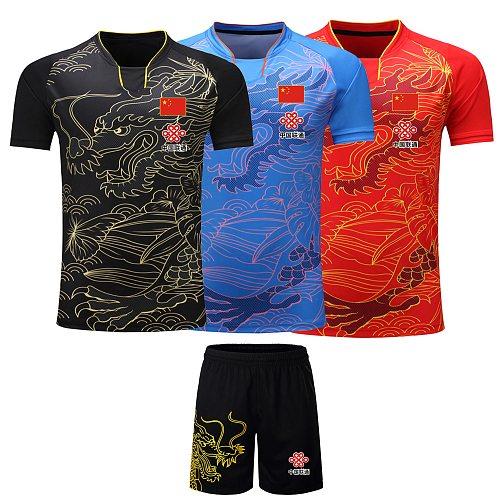 2020 CHINA Dragon table tennis Jerseys Shorts Men / Women / Child , ping pong Jersey,Table tennis Shirt Sets table tennis shirts