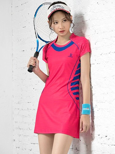 Spring&Summer Women New Badminton Dress Slimming Quick Dry Short Sleeve Tennis Wear Women's Sports Suit with Safety Shorts