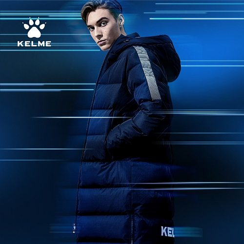 KELME Men Winter Jacket Women Long Hooded Sports Training Casual Wear Overcoat Outwear Cotton Padded Warm Coat Men 3991553