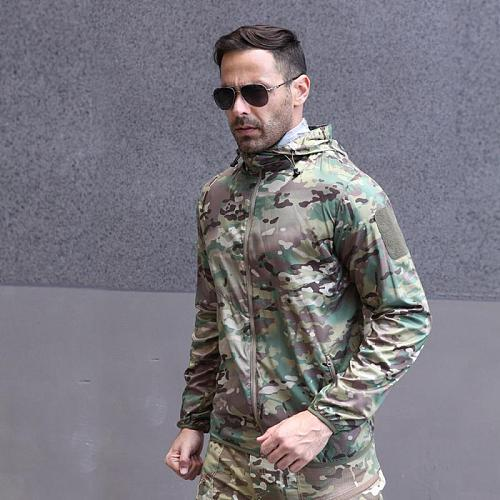 Outdoor hunting clothes tactical hooded camping jacket camouflage jungle clothing coats fishing hunting tactical windbreaker