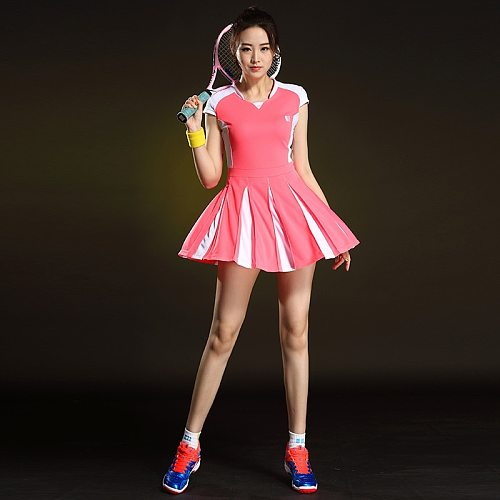 Sport Badminton Women Dress Short Sleeve Table Tennis Women's Suit Tennis Dress for Girl Summer Workout Jersey with Shorts