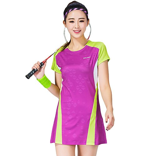 Women Sports Dress Tennis Uniform Hip Length Short Sleeve Badminton Dress With Safe Shorts Women Leisure Vestidos De Tenis 1701