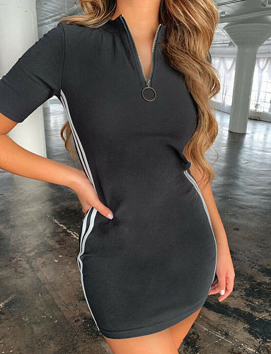 Newest Tennis Dress Summer Women Leisure Sleeveness U Shape Side Striped Zipper Sportswear Tennis Dress Outfits