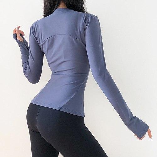 Autumn Slim Fit Collar Workout Sport Coat Women Zipper Nylon Jogger Fitness Jacket With Thumb Holes Quick drying Sport Yoga Tops