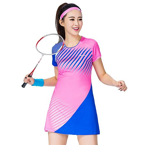 Women's Sports Dress Badminton Clothes Short Sleeve Tennis Dress With Safe Shorts Woman Leisure Vestido de tenis 1702