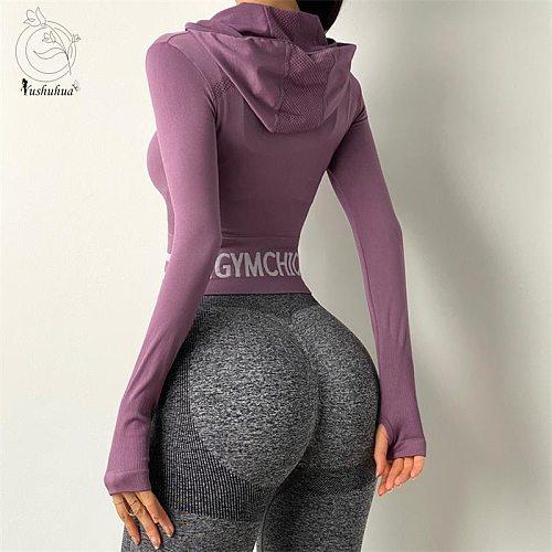 Yushuhua Striped Sport Jacket Women Tight Hoodie Yoga Top Zipper Fitness Long Sleeve Women Nylon Sport Jacket for Running top
