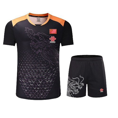 New Season CHINA Dragon table tennis Jersey Shorts Men Women Kid,ping pong sets,table tennis clothes Kit table tennis shirt 3890