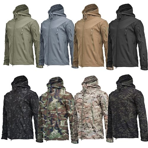 Men's Jacket Soft Shell Shark Skin Fleece Waterproof Windproof Windbreaker Tactical Coat for Hiking Camping Hunting Thermal Male