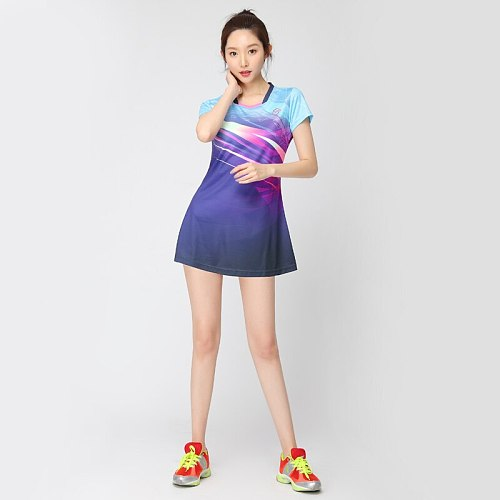 New Summer Badminton Set Tennis Sports Dress Quick Dry Slimmer Dress Women Sport Tennis Clothes for Girls with Safety Shorts