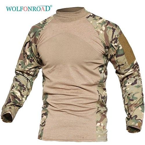 WOLFONROAD Men's Rip-stop Tactical Long Sleeve T-Shirts Camouflage Hunting T Shirt Spring Man Training Paintball Shirts Clothing