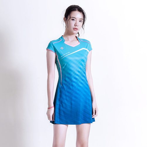 Spring&Summer New Badminton Wear Dress Set Quick Dry Slim Tennis Workout Suit Badminton Sportswear with Safety Shorts
