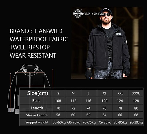 HAN WILD Military Tactical Hunting Jackets Men's Army Waterproof Jacket Black Soft Shell Windbreaker Hooded Clothes Adjustable