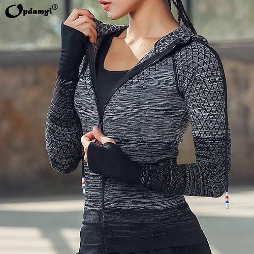 Zipper Fitness Clothing With Hat Yoga Shirt Long Seamless Outerwear Girl Sport Jerseys Women Coats Running Sports Jacket Tops