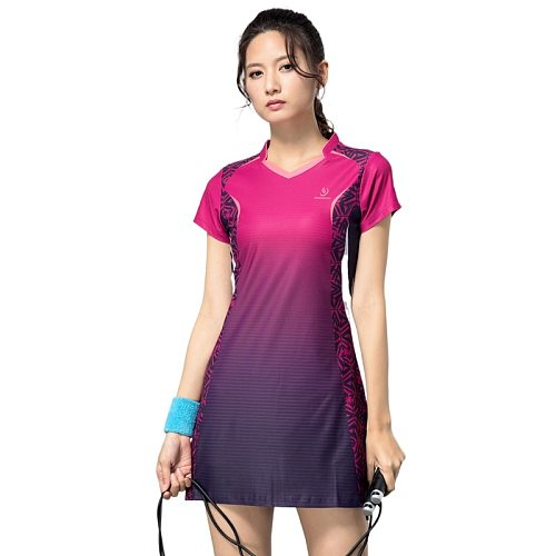 Sport Women's Badminton Fitness Dress New Spring Summer Short Sleeve Suit Quick Dry Slim Sports Tennis Dress for Girls