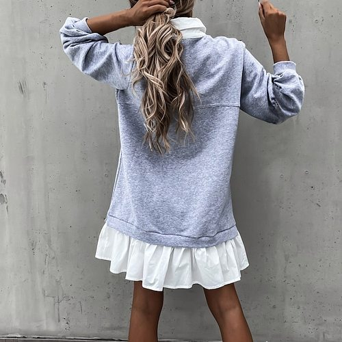 2021 Autumn Ruffles Straight Dress Winter Color Matching Pocket Button Sweatshirt Long-Sleeved casual Dress dresses for women