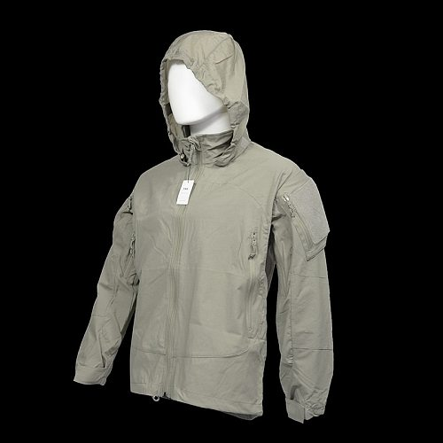 Outdoor Tactical Soft shell Hooded Stormsuit Thin Style PCU L5 Jacket Field Coat