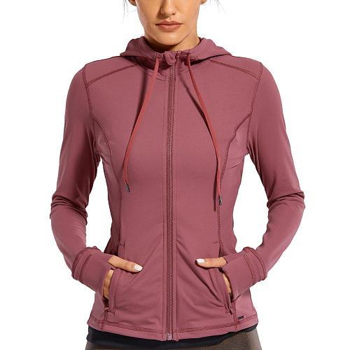 Sportswear Woman'S Sports Jacket Women'S Matte Brushed Full Zip Up Hoodie Coats Outerwear Hooded Workout Sports Jackets Pockets
