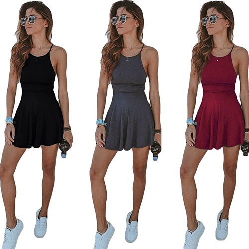 Female Solid Sleeveless Sport Tennis Dress Quick Dry Breathable Cheerleader Badminton Volleyball Running Cheering Sports Dress