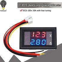 DC 0-100V 10A Digital Voltmeter Ammeter Dual Display Voltage Detector Current Meter Panel Amp Volt Gauge 0.28  Red Blue LED