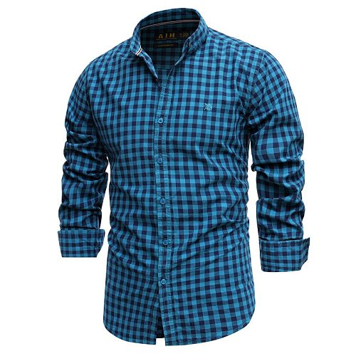 Cotton Plaid Shirt 2021 Men's Slim Business Casual Shirt Spring High-quality Top Hunting Hiking Inside Wear Breathable Soft