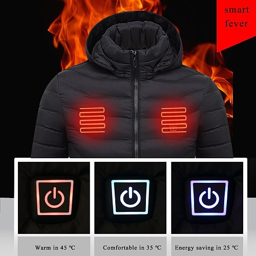 Puimentiua Mens Women Heated Outdoor Parka Coat USB Electric Battery Heating Hooded Jackets Warm Winter Thermal Jacket 2020