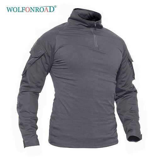WOLFONROAD 1/4 Zip Long Sleeve Military Tactical Combat Shirts Men's Hunting Army Shirt Safari Tops Workout T-shirts Men