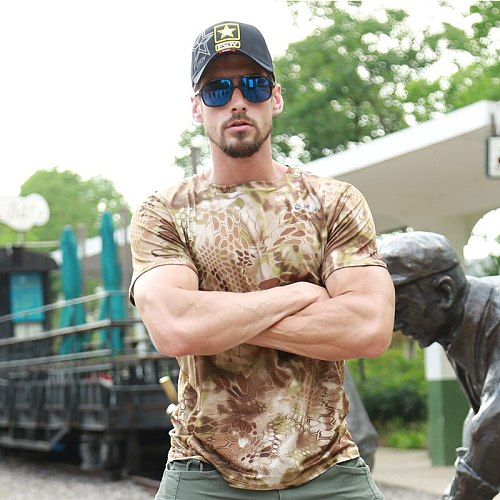 WST Tactical Shirt Short Sleeve Camo Army Round Collar Anti-UV Perspiration Outdoor Sport Tranning Shirt