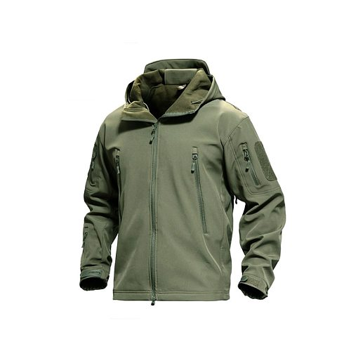 Hunting Jacket Soft Shell Shark Skin Fleece Lining Clearance Coat Waterproof Windbroker Hooded Multi-Pocket for Hiking Camping
