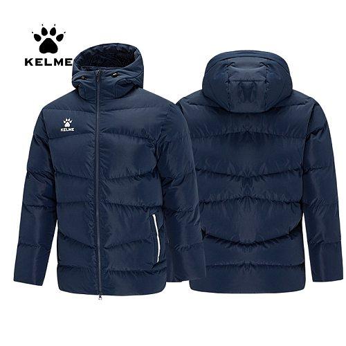 KELME Men's Winter Jacket Women Couple Hooded Warm Trainning Sport Clothing Cotton Padded Overcoat Winter Outwear 8061MF1001