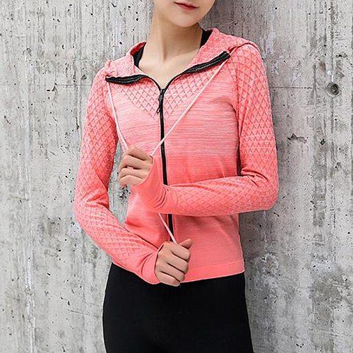 Women Running Jacket Hooded Thumb Hole Yoga Jacket Zipper Jacket Fitness Clothing Top Sport Gym Sportswear Sweatshirt Sportswear