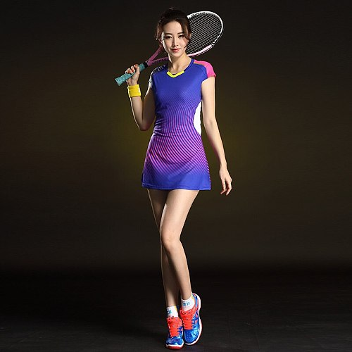 Women's Badminton Dress Short Sleeve Quick Dry Tennis Clothes Sports Women Dress Badminton Workout Clothing with Safety Shorts
